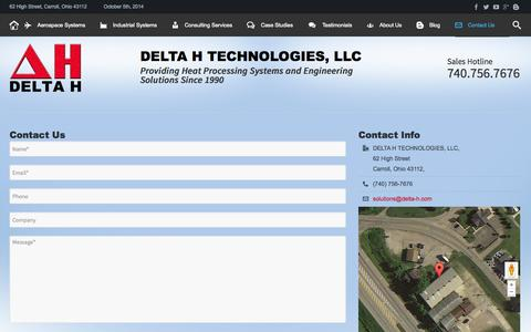 Screenshot of Contact Page delta-h.com - Contact - DELTA H TECHNOLOGIES - captured Oct. 5, 2014