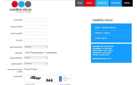 Screenshot of Contact Page creative-circus.com - creative circus [imagination tented] > contact - captured Sept. 30, 2014