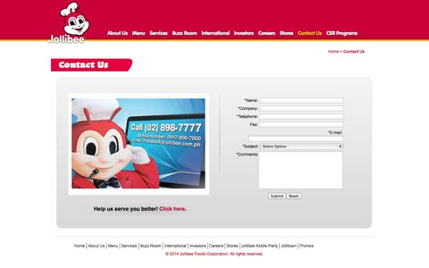 Screenshot of Contact Page jollibee.com.ph - Contact Us | Jollibee Foods Corporation - captured Sept. 25, 2014