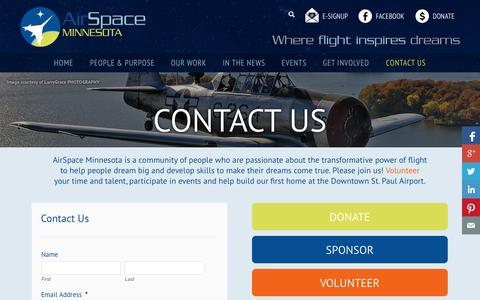 Screenshot of Contact Page airspacemn.org - Contact Us | AirSpace Minnesota - captured Sept. 26, 2014