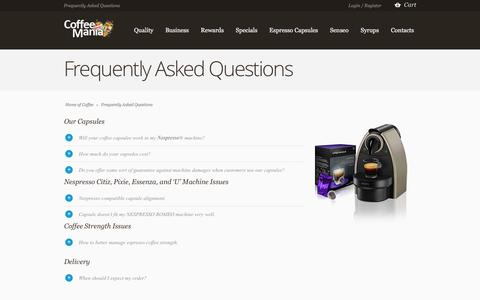 Screenshot of FAQ Page coffeemania.ie - Frequently Asked Questions | Coffee Mania Ireland - captured March 11, 2016