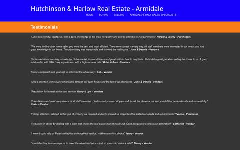 Screenshot of Testimonials Page hhrealestate.com.au - Testimonials - Hutchinson & Harlow Real Estate - Armidale - captured Feb. 1, 2016