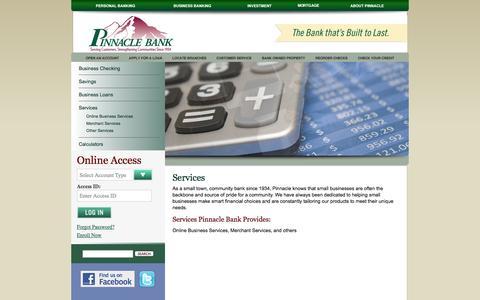 Screenshot of Services Page pinnaclebank.com - Pinnacle Bank   Business Banking - captured Sept. 22, 2014