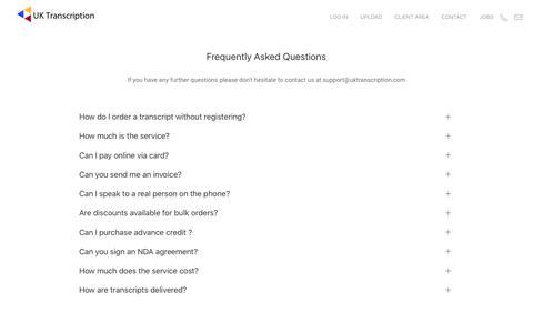 Screenshot of FAQ Page uktranscription.com - FAQs - captured July 26, 2018