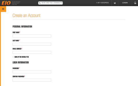Screenshot of Signup Page eio.com - Create New Customer Account - eio.com - captured July 25, 2017