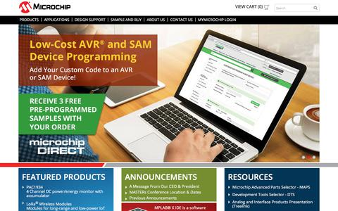 Screenshot of Home Page microchip.com - Home | Microchip Technology - captured April 7, 2018
