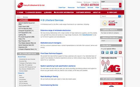 Screenshot of Services Page hblstore.co.uk - Services - captured Oct. 2, 2014