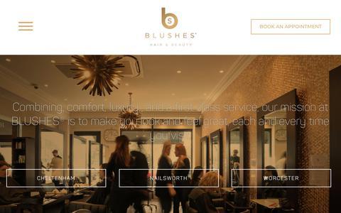 Screenshot of Home Page blushes.co.uk - Blushes Hair & Beauty | Cheltenham, Nailsworth, Worcester - captured Nov. 6, 2018