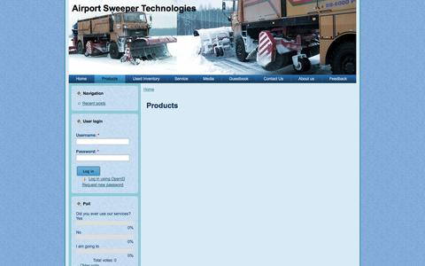 Screenshot of Products Page astechnologies.us - Products | Airport Sweeper Technologies - captured Oct. 4, 2014