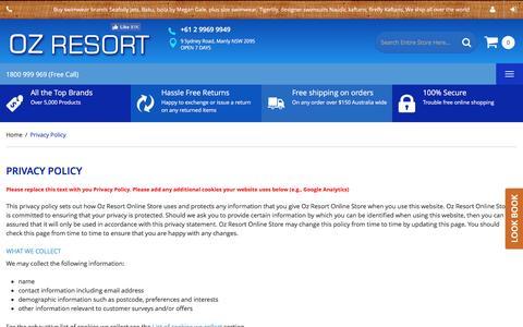 Screenshot of Privacy Page ozresort.com.au - Privacy Policy - captured Dec. 1, 2016