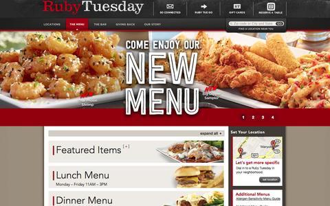 Screenshot of Menu Page rubytuesday.com - Restaurant Menu - Ruby Tuesday - captured Sept. 25, 2014