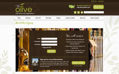 Screenshot of Signup Page weolive.com - Newsletter Signup | We Olive - captured Oct. 27, 2014