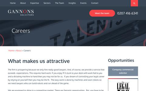 Screenshot of Jobs Page gannons.co.uk - Careers With Us | Gannons Solicitors - captured July 16, 2018