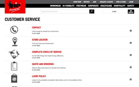 Screenshot of Privacy Page Support Page hippocketworkwear.com.au - Customer Service - captured Aug. 19, 2017
