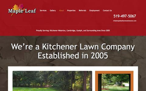 Screenshot of About Page mapleleaflawnmaintenance.com - Kitchener Lawn Company - Lawn Care | Maple Leaf Maintenance - captured July 13, 2018