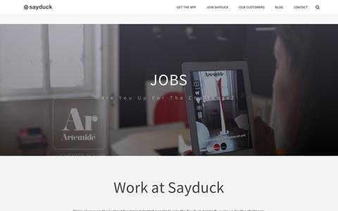 Screenshot of Jobs Page sayduck.com - Jobs – Sayduck - captured July 4, 2016