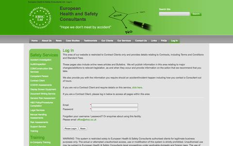 Screenshot of Login Page ehsc.co.uk - European Health & Safety Consultants UK - captured Oct. 2, 2014