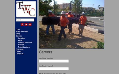 Screenshot of Jobs Page twc-corp.com - Careers - Team West Contracting Corporation - captured Feb. 14, 2016