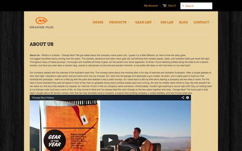 Screenshot of About Page orangemud.com - History of Orange mud, Corona, CA Running, Cycling, SUP | Orange Mud for no bounce hydration - captured Oct. 9, 2014