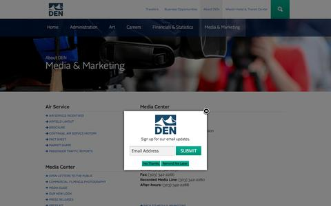 Screenshot of Press Page flydenver.com - Media Center   Denver International Airport - captured Sept. 10, 2016