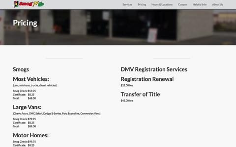 Screenshot of Pricing Page smogngo.com - Smog 'N Go - Pricing for Smog Checks and Vehicle Registration Services - captured Oct. 26, 2014