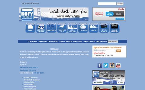 Screenshot of Contact Page kofytv.com - Contact Us | KOFY TV - captured Nov. 6, 2018