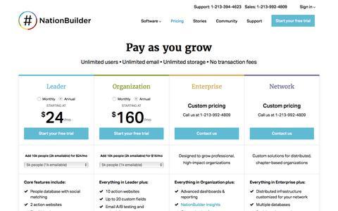 Screenshot of Pricing Page nationbuilder.com - NationBuilder Pricing - captured March 20, 2018