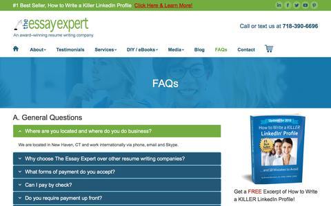 Screenshot of FAQ Page theessayexpert.com - FAQs - The Essay Expert - captured Sept. 7, 2019
