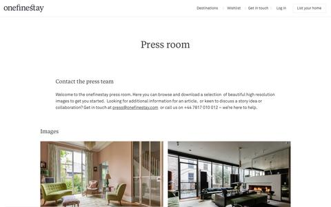 Screenshot of Press Page onefinestay.com - Press room | onefinestay - captured Nov. 16, 2019