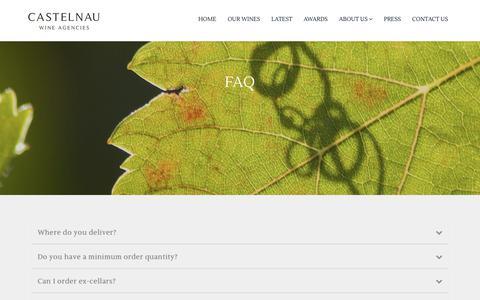 Screenshot of FAQ Page castelnau.co.uk - Castelnau Wine Agencies : FAQ - captured Sept. 27, 2018