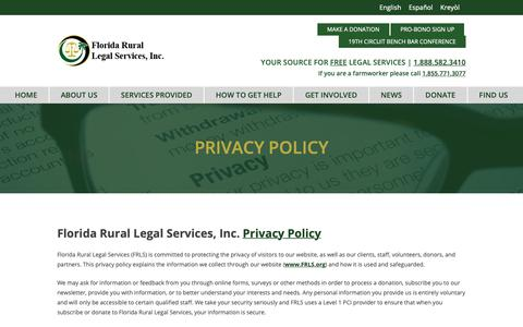 Screenshot of Privacy Page frls.org - Privacy Policy – Florida Rural Legal Services - captured Oct. 10, 2018