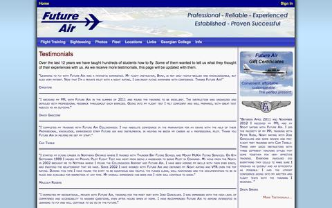 Screenshot of Testimonials Page futureair.ca - Future Air · Testimonials - captured Sept. 30, 2014