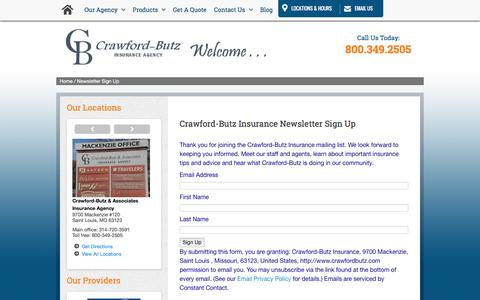 Screenshot of Signup Page crawfordbutz.com - Newsletter Sign Up - captured Feb. 1, 2016