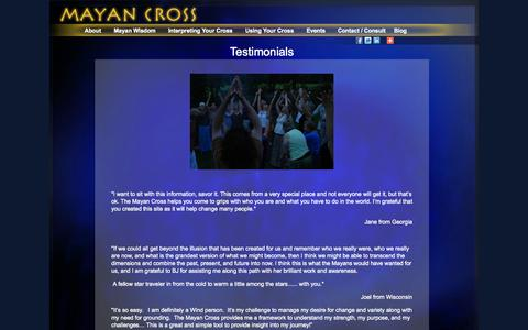 Screenshot of Testimonials Page mayancross.com - Testimonials | MayanCross.com - captured Oct. 5, 2014