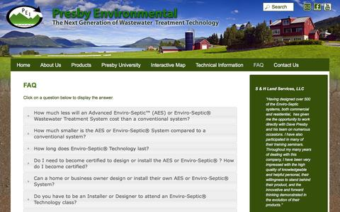Screenshot of FAQ Page presbyeco.com - FAQ | Presby Environmental - captured March 31, 2016