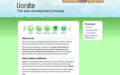 Screenshot of Services Page lionite.com - Internet services - Lionite Internet Ventures - captured Dec. 10, 2015