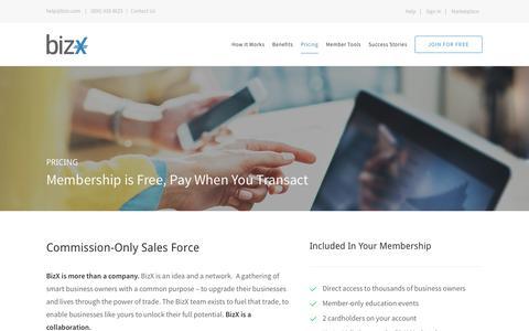 Screenshot of Pricing Page bizx.com - Pricing – BizX - captured Oct. 27, 2016