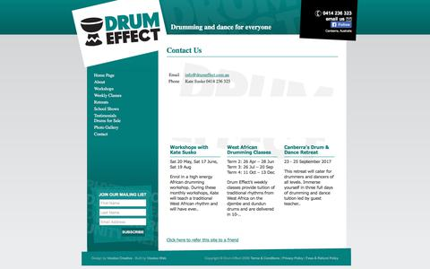Screenshot of Contact Page drumeffect.com.au - contact - captured June 5, 2017