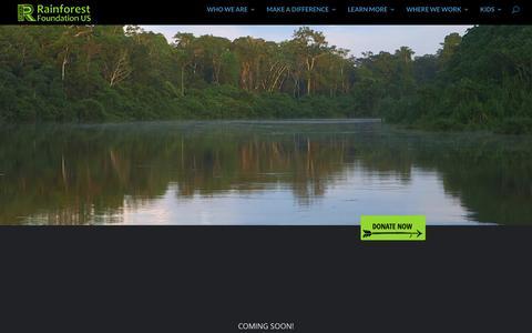 Screenshot of FAQ Page rainforestfoundation.org - Coming Soon   Rainforest Foundation US - captured Jan. 10, 2016