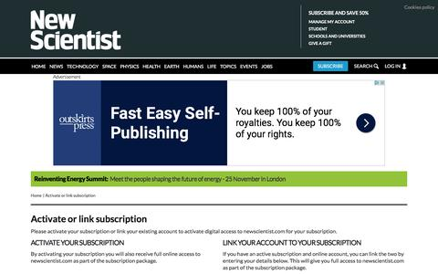 Activate or link subscription | New Scientist