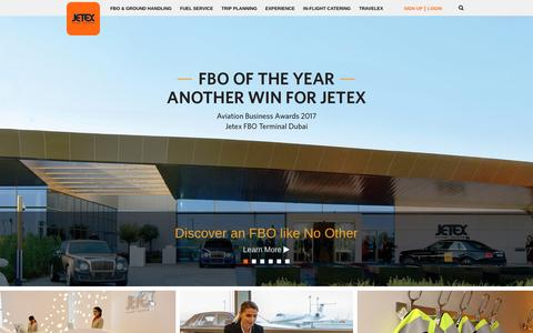 Screenshot of Home Page jetex.com - FBO Networks, Ground Handling, Trip Planning, Premium Jet Fuel - Jetex Flight Support ® - captured Sept. 24, 2018