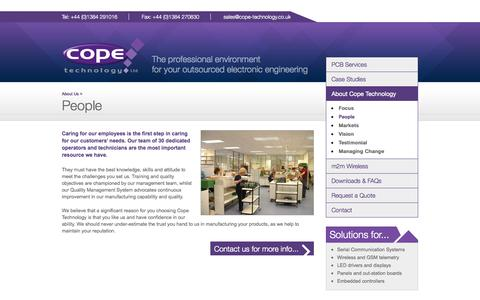 Screenshot of Team Page cope-technology.co.uk - People - About Us - Cope Technology Ltd. - captured Oct. 1, 2014