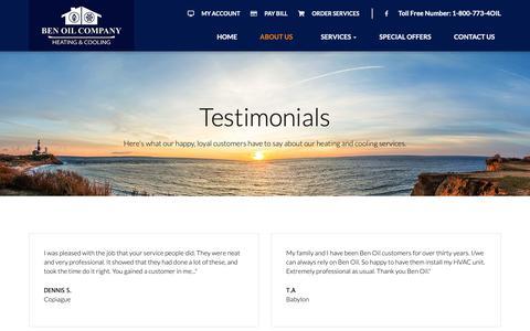 Screenshot of Testimonials Page benoilco.com - Testimonials - Lindenhurst, West Babylon, Copiague | Ben Oil Co Inc - captured Nov. 13, 2018