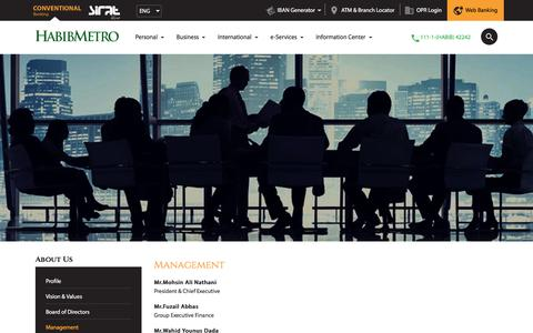 Screenshot of Team Page habibmetro.com - Management – Habib Metro Bank - captured Sept. 26, 2018