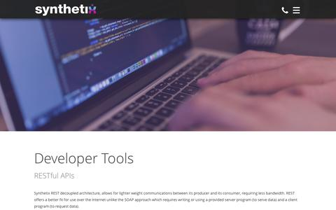 Screenshot of Developers Page synthetix.com - Developer Tools - Synthetix - captured Feb. 16, 2016