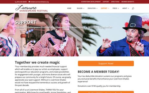 Screenshot of Support Page livermoreshakes.org - Support - Livermore Shakespeare Festival - captured Oct. 18, 2018