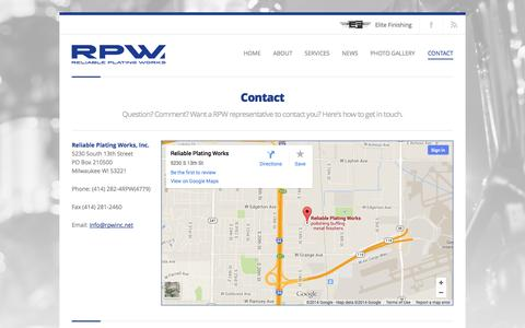 Screenshot of Contact Page rpwinc.net - Reliable Plating Works     Contact - captured Oct. 26, 2014
