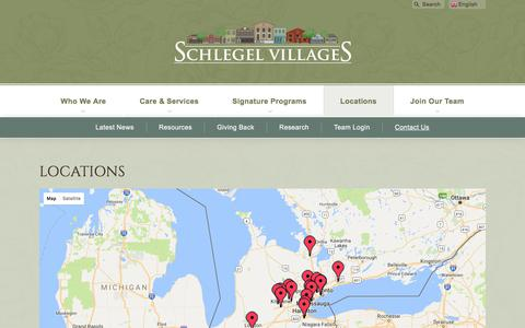 Screenshot of Contact Page Locations Page schlegelvillages.com - Locations | Schlegel Villages - captured Oct. 5, 2017