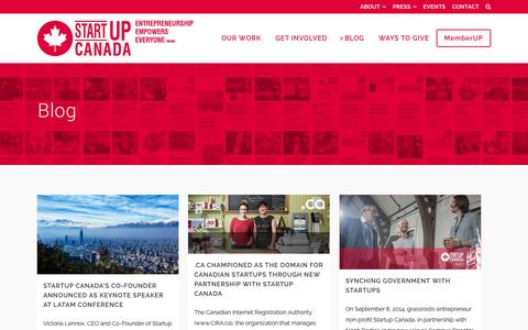 Screenshot of Blog startupcan.ca - Startup Canada   Startup Canada     Blog - captured Sept. 23, 2014
