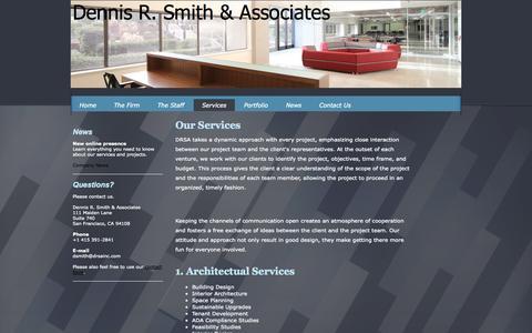Screenshot of Services Page drsainc.com - Services - Dennis R. Smith & Associates - captured Oct. 5, 2014
